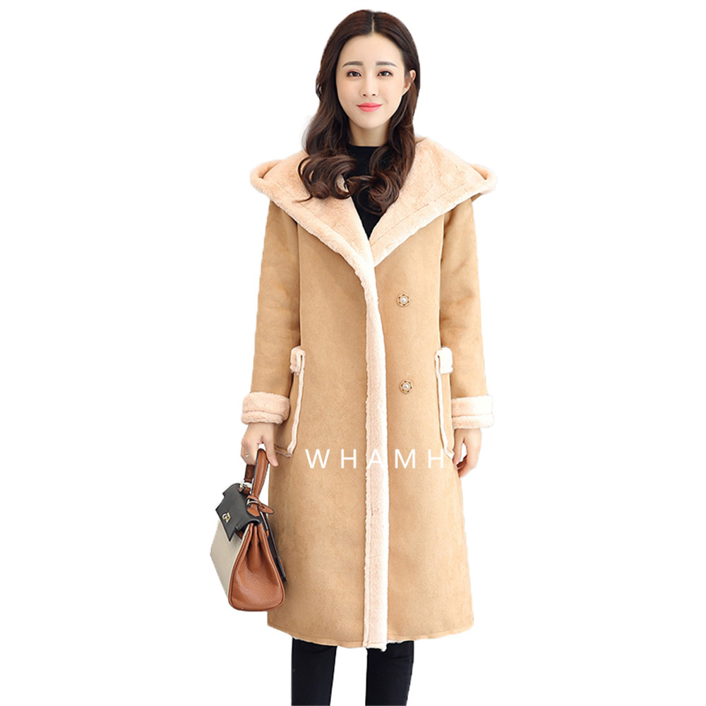 Wild Little Cat Winter Women Faux Lambs Wool Coat Medium Long Thick Warm Shearling Coats Faux Leather Jackets