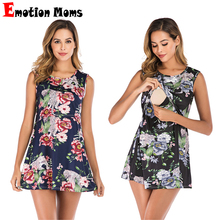 Fashion  Summer Maternity Dresses Nursing Flower Printing Clothing Clothes Adult Friendly Feeding Dress Wear