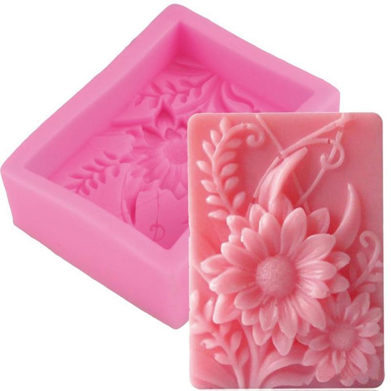 Silicone Soap Mold Flower Cake Chocolate Fondant Sugar Mould Pink Silicon Mold Diy Craft Household Baking Tools