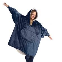 TV Blanket Hoody Sweatshirts-Drop Sleeves Fleece Giant with Oversize Women