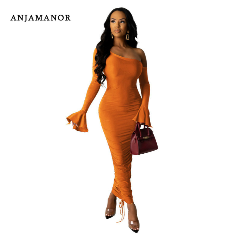 ANJAMANOR <font><b>Sexy</b></font> Ladies <font><b>Dresses</b></font> Off Shoulder Flare Sleeve Ruched <font><b>Bodycon</b></font> Maxi <font><b>Dress</b></font> <font><b>Women</b></font> Party Clothes Clubwear Vestidos D90-AF06 image