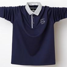Männer Herbst Lange Polo Shirt Herren Stehkragen Polo Shirts Stickerei Casual Baumwolle Homme 5XL Große Größe Business Volle Tops hemd