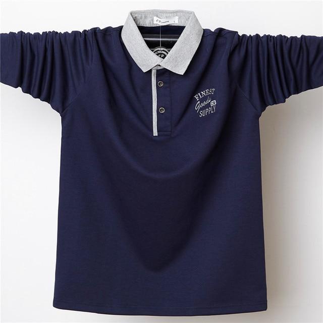 Uomini Autunno Camicia Camicia di Polo Mens Del Collare Del Basamento Polo Camicette Ricamo Casual Cotone Homme 5XL di Grandi Dimensioni Business Completa Magliette E Camicette camicia