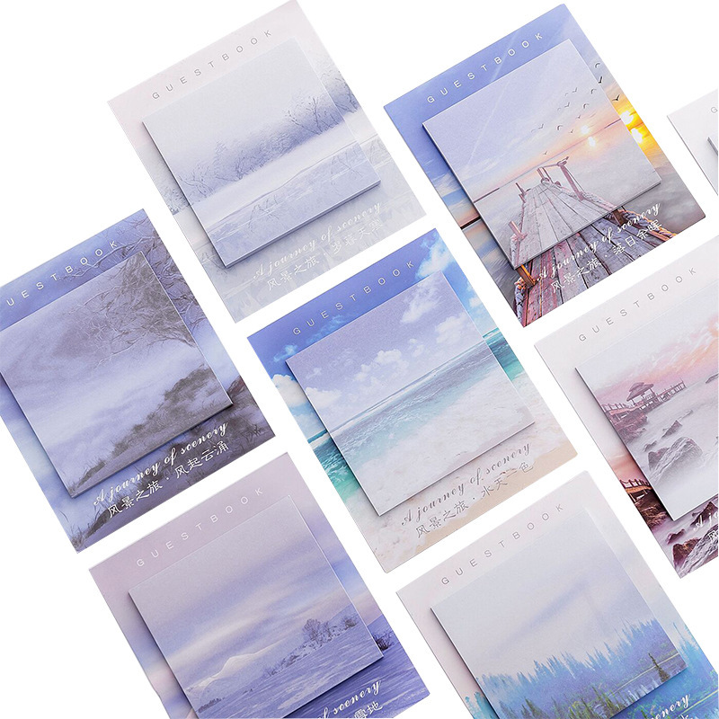 Creative Landscape Travel Beautiful View Memo Pad Sticky Notes Notebook Stationery Note Paper Stickers Office School Supplies