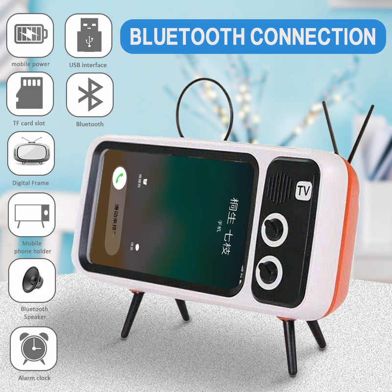 3 In 1 Wireless Peaker Retro TV Mini Portable Bluetooth Bass Speaker Ponsel Holder Stand Speaker Retro Bingkai Foto hadiah