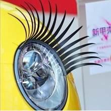Faux-cils noirs 3D, 1 paire, autocollants de décoration amusants pour phares de voiture
