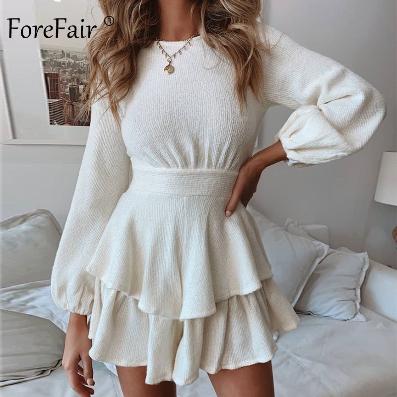 Forefair A Line Tunic Sexy Ruffle Dress Long Sleeve Autumn 2019 Sashes Tied Black White Mini Knitted Sweater Winter Dress Women