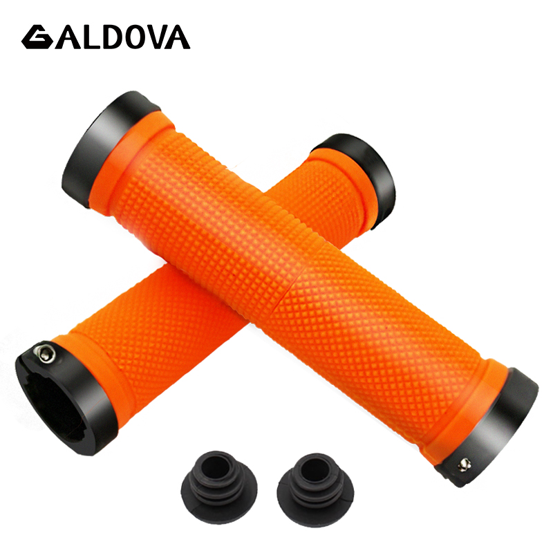 1 Pair Bicycle Grips With Lock Rubber And Aluminium Alloy Non-Slip Round Type Road Handle Bike Bicycles Parts Bmx MTB Cuffs