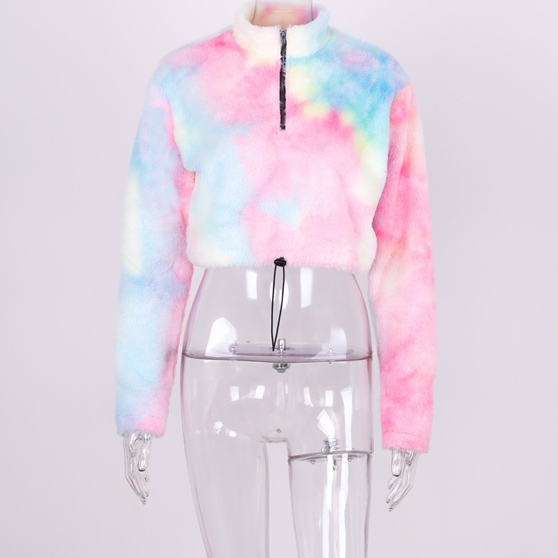 H125d94138c8b41b99b1856fa8d88e3a07 Hugcitar long sleeve zipper high neck Faux lambswool crop tops 2018 autumn winter women fashion solid coat jacket