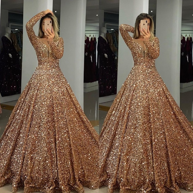 2020 Long Muslim Evening Dresses Ball Gown Plus Size Dubai Gold Prom Dresses Formal Gala Dress