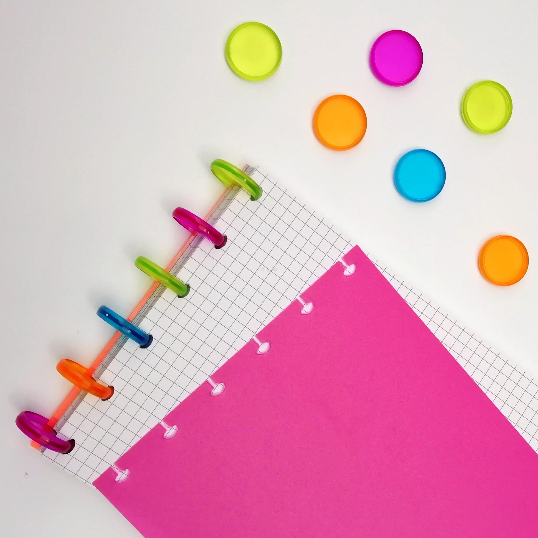 30Pcs Colorful Plastic Disc Binding Ring Loose Leaf T Mushroom Hole Arc Binding Book Rings For DIY Notebook Binder Office Supply