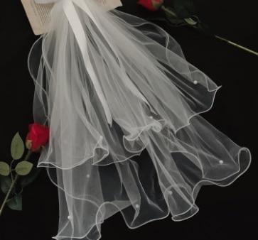 Bridal super FAIRY DRESS headdress Mori short net red photo prop main wedding dress simple retro white