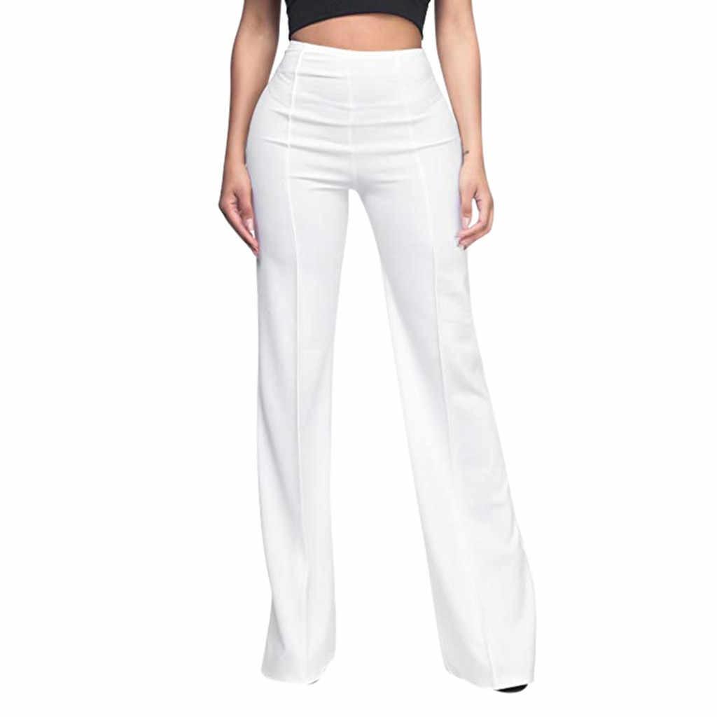 Kadın düz gevşek geniş uzun pantolon flare tayt moda 2019 sonbahar kadınlar seksi yüksek bel akan palazzo pantolon pantolon