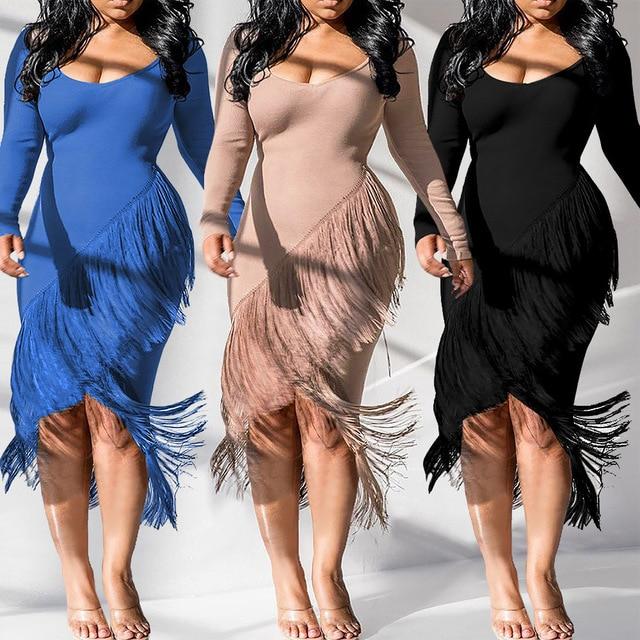 2021 New Style Women Solid Color Dress Long Sleeve Round Collar Irregular Fringed Hem Mid Dress Autumn Slim Clothes 1