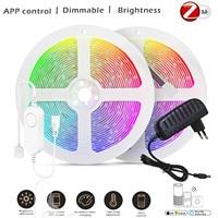 Zigbee controlador RGB 1-10M DC12V RGB 5050 leds/m tira de luz LED RGB + kit de potencia con ZIGBEE 3,0 Smartthings Centro Eco Plus