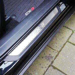 Image 5 - Накладка на порог автомобильной двери, защитная Накладка на порог, наклейки на педаль, внешняя отделка для Mazda CX 3 CX3 2017 2018, аксессуары для автостайлинга