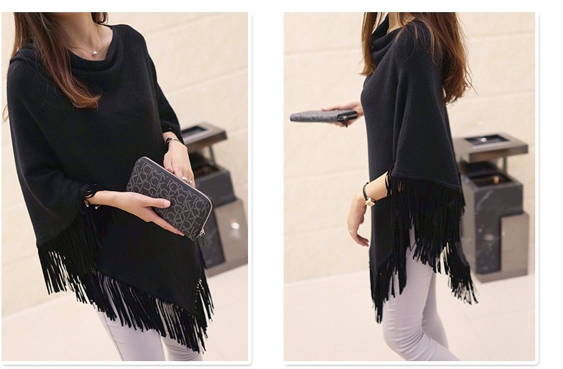 Women Spring Autumn Knitted Sweater Poncho Coat 21