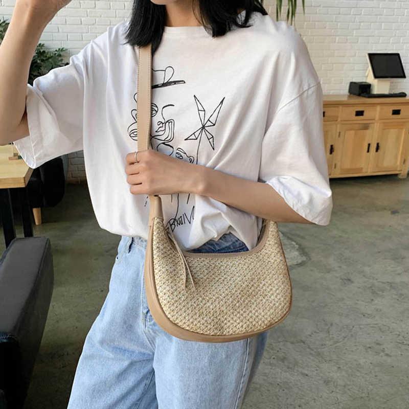 Yeni moda ay saman + deri çanta kadın yaz kamış örgü çanta el yapımı dokuma plaj Bohemia omuzdan askili çanta Crossbody çanta çanta
