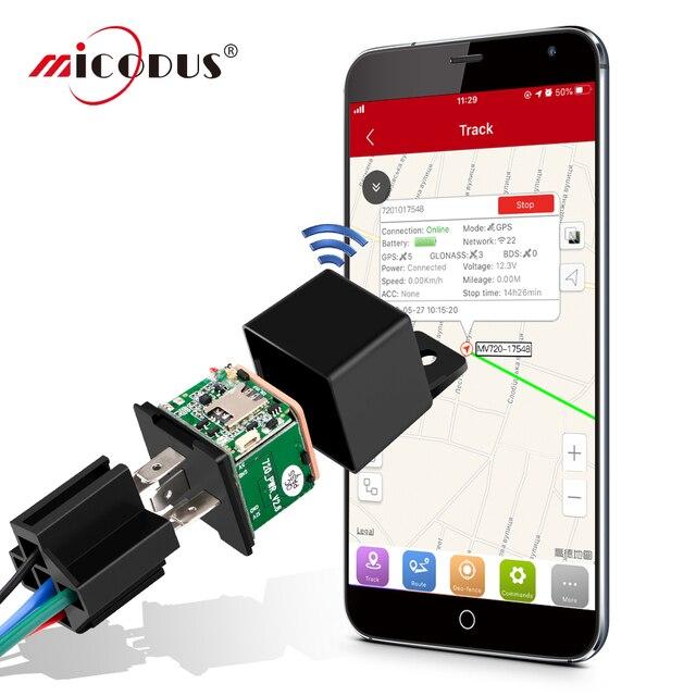 Mini GPS Tracker Car Tracker Micodus MV720 Relay Hidden Design Cut Off Fuel Car GPS Locator 10-40V 80mAh Vibrate Alert Free APP 1