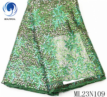 Beautifical african lace fabrics Latest embroidery lace fabric nigerian tulle lace with sequins for dress 5yards ML23N109