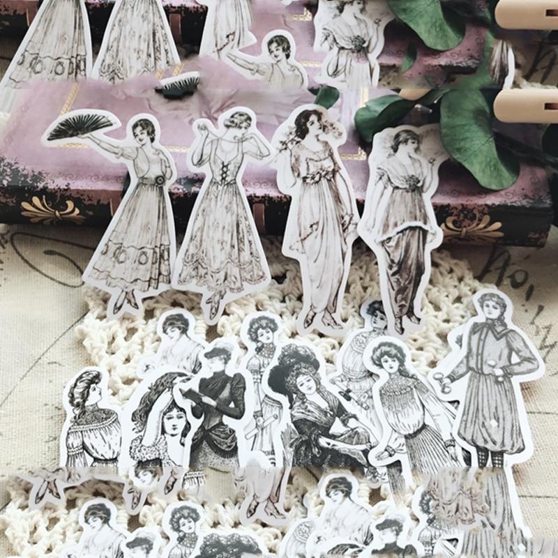 14pcs/pack Vintage European Ladies Retro Character Fashion Dress Design Decoration Sticker DIY Scrapbooking Label Diary Sticker