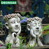 Outdoor Meditation Art Human Head Flower Pot Home Furnishings Portrait Statue Boy Fleshy Flower Pot Crafts Sculpture Decoration