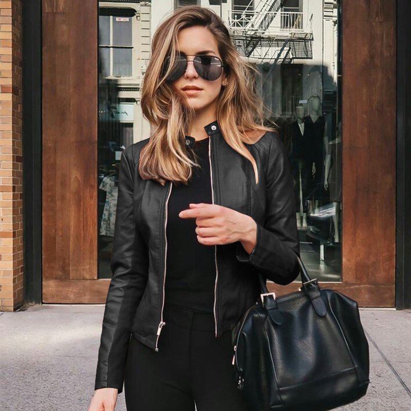Women Slim Black Leather Jacket 2020 Autumn Oversized Streetwear With Zipper PU Leather Coats Casual Outwear Jaqueta De Couro