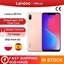 グローバルバージョンレノボ S5 プロ 6 ギガバイト 64 バイトの Snapdragon 636 オクタコアスマートフォン 20MP クワッドカメラ 6.2 ギガバイトコア 4 の 3g 携帯電話