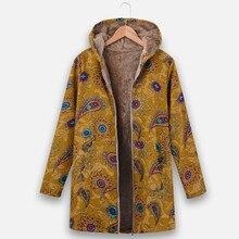 Chaqueta Vintage con estampado étnico y cremallera para mujer, abrigo de lana con capucha, abrigo de manga larga, chaqueta femenina étnica de talla grande, manteau femme