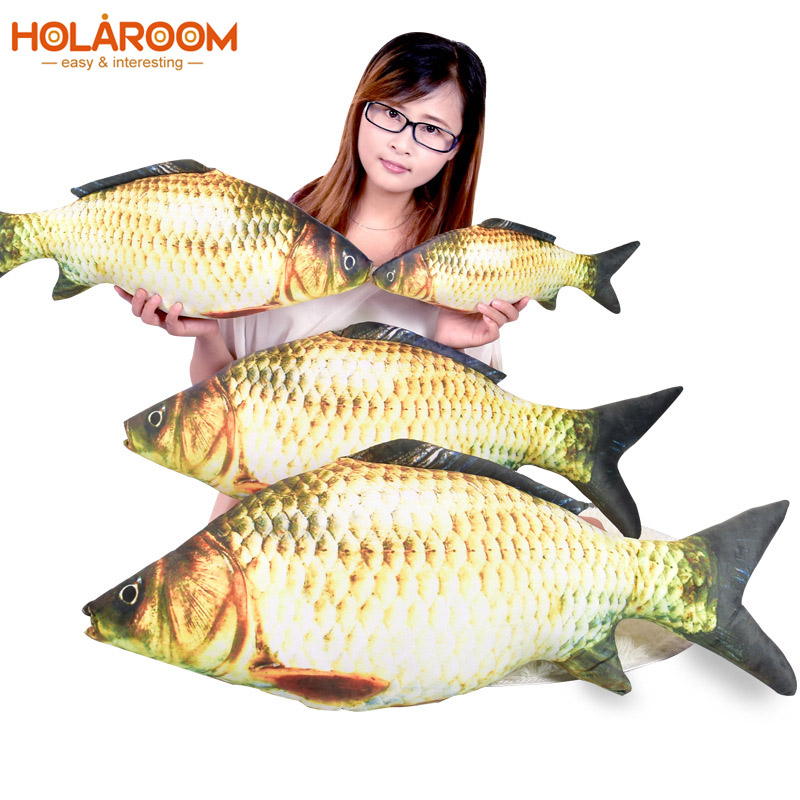 Realistic Crucian Carp 3D Fish Stuffed Animal Cushion Plush Children Kids Toy