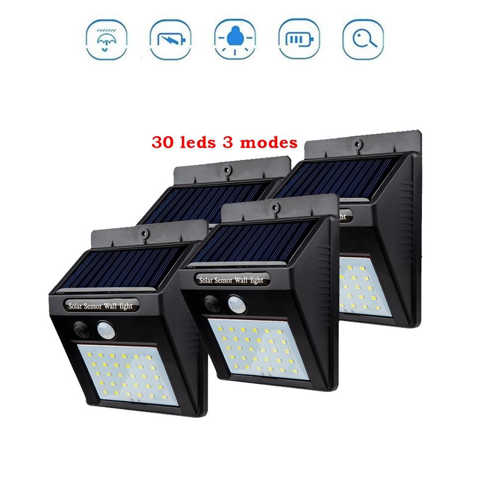 2/4PCS 30 LED Solar Powered Wall Light PIR Motion Sensor Street Light 3Modes 7 Color Outdoor IP65 Waterproof Lamp For Pathway Ga