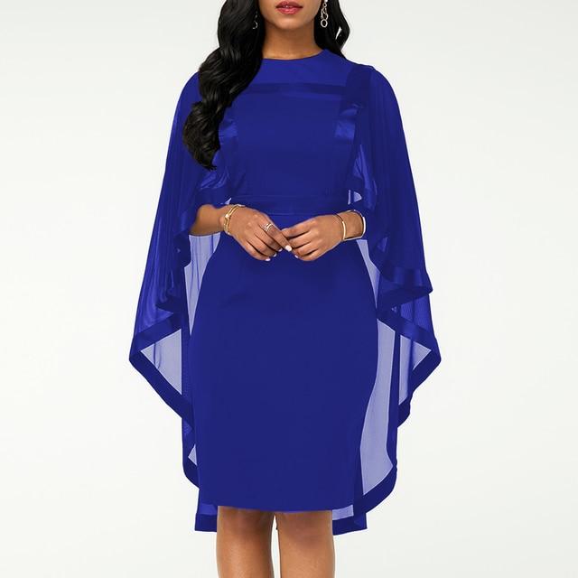 Summer Autumn Dress Women 2019 Casual Plus Size Slim Patchwork Mesh Office Bodycon Dresses Vintage Elegant Sexy Party Dresses 2