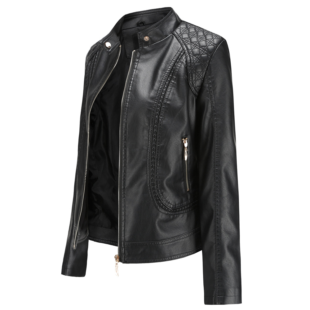 New 2019 spring and autumn OL temperament European and American collar female   leather   PU   leather   jacket women's   leather   jacket
