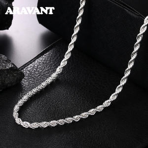 925 Silver 4MM Twist Snake Chain Necklace For Men Women Jewelry Accessories 16-30 Inches