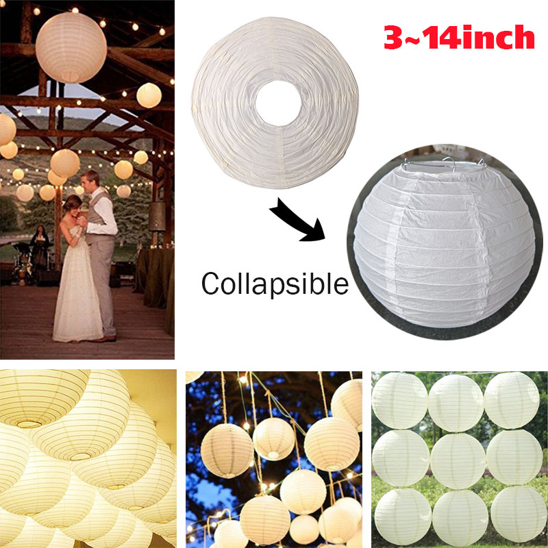 Paper Lantern Lampshade Wedding Metal Hanging Christmas Outdoor Xmas Gift Household Chinese Lantern Classic Slip-Over Festival