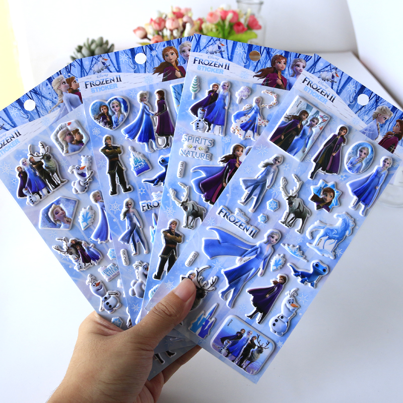 8 Pcs/set 3D Frozen 2 Elsa And Anna Stickers Princess Sophia Bubble Stickers Paste Toys Stickers Classic Toys For Kids Gift