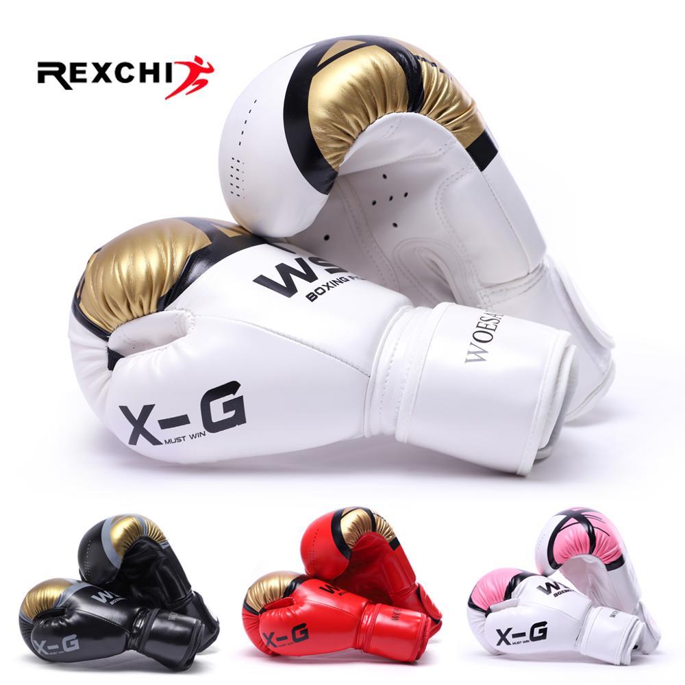 REXCHI Kick Boxing Luvas para Mulheres Dos Homens PU Karate Muay Thai Luvas De Treinamento Sanda MMA Boxeo Luta Livre Adultos crianças Equipamentos