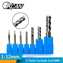 XCAN 1 шт. 3 флейты Вольфрамовая сталь фреза ЧПУ фрезы для резки алюминия ЧПУ гравировальный станок концевые фрезы