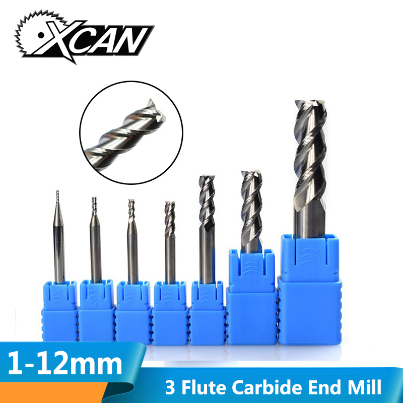 XCAN 1pcs 3 Flute Tungsten Steel Milling Cutter CNC Router Bits For Aluminum Cutting CNC Engraving Machine End Mills