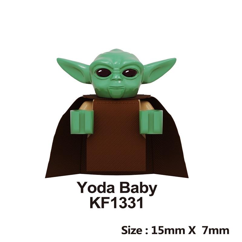 Yoda Baby Building Blocks Space Wars Darth Vader Rey PoE Dameron Mandalorian Jango Gift Drabatan Figure For Children Toys KF1331