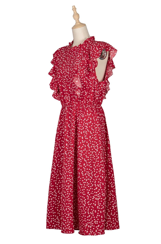 Dot Print Butterfly Sleeve Ruffles Long Chiffon Dress 8