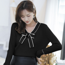 Sweaters Women Knitted Autumn 2019 Winter New Bow Collar Loose Simple Bottoming Blouses Shirt Tops 11A