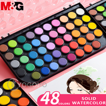12/18/24/36/48 Colors Solid Watercolor Paint Set Portable Box With Water Color Brush School Kids Professional Art Supplies