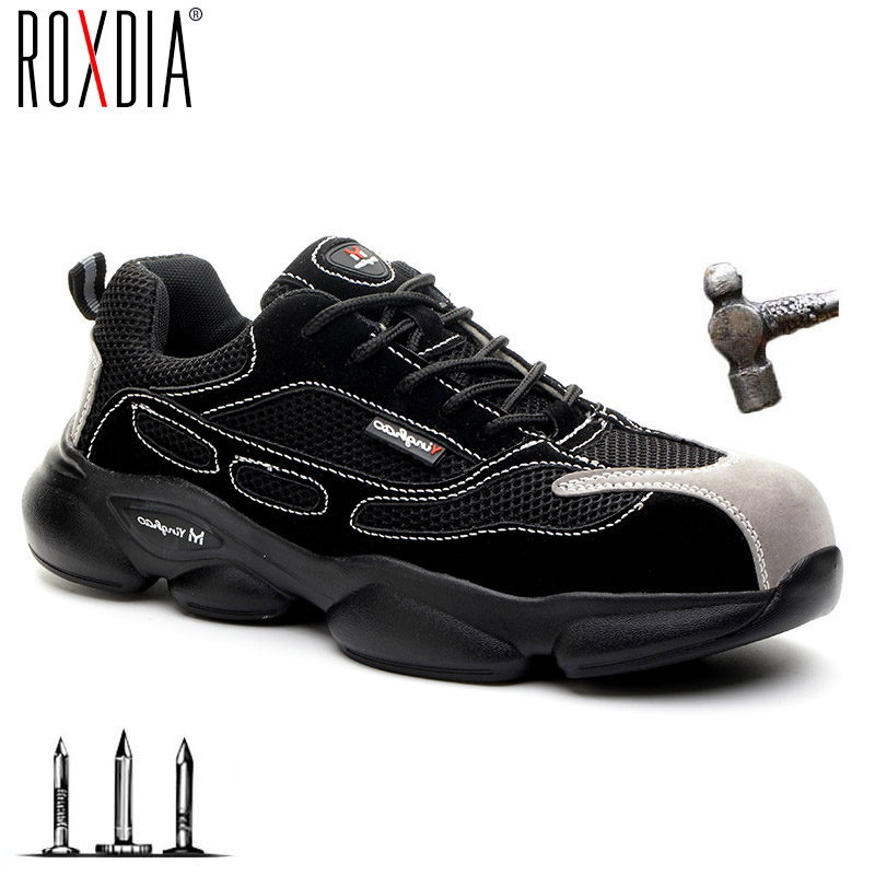 ROXDIA brand lightweight steel toecap men safety shoes women work outdoor breathable male female shoes plus size 36-46 RXM648