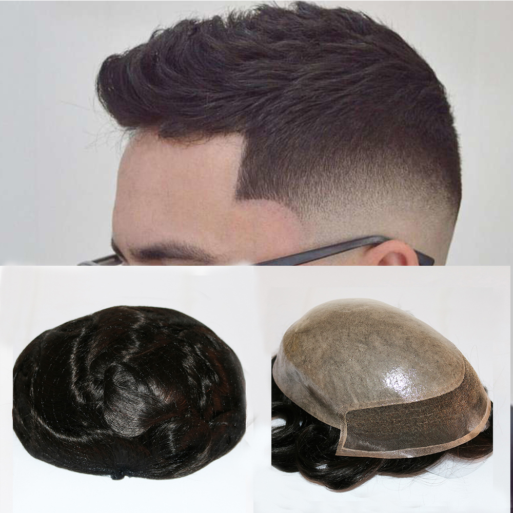 SimBeauty Remy Human Hair Toupee For Men With Transparent Thin Skin PU And Lace 10