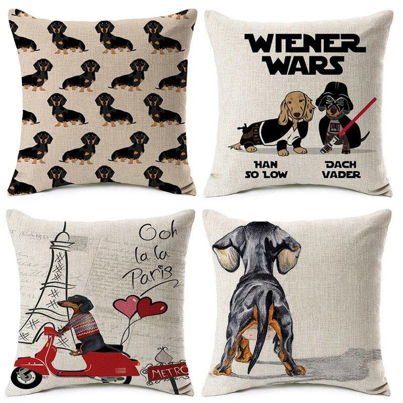Fashion Colorful Dog Printed Cushion Cover Home Dachshund Decorative Sofa Coffee Car Chair Throw Pillow Case Almofada Cojines