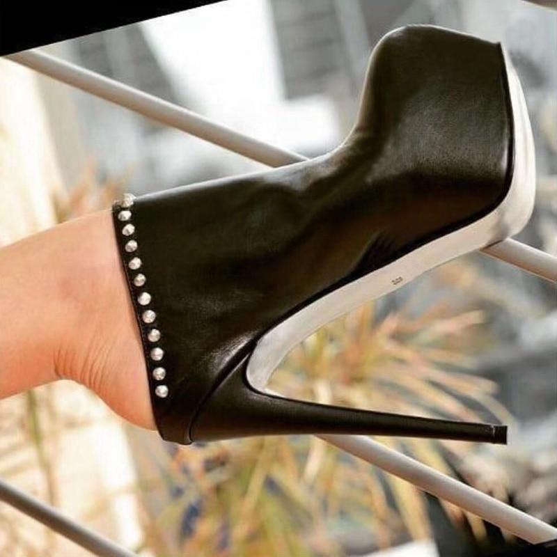 DiJiGirls Slip-on 16 cm Heel Black Punk Pumps Female Platform Shoes Super Stiletto Lesther Rivet High Heels  Woman Retro Slipper