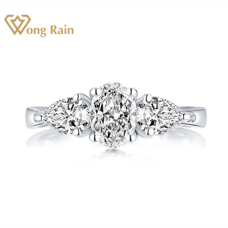 Wong Rain Luxury 925 Sterling Silver Oval Created Moissanite Gemstone Diamonds Wedding Engagement Ring Fine Jewelry Wholesale