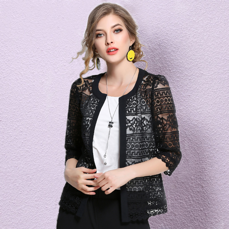 New 2019 Plus Size Cardigan Black White Crochet Sexy Lace Blouse Shirt Women Tops M-5XL Summer Blouse Women Clothing Blusa 3F