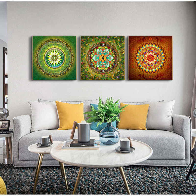 Yumeart Mandala Ornament Thangka Yoga Canvas Painting Religion Vintage Print Poster Art Wall Pictures Living Room Decor No Frame